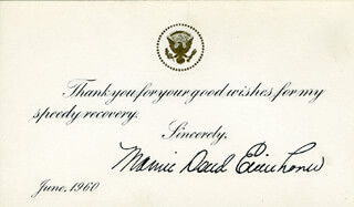 FIRST LADY MAMIE DOUD EISENHOWER - TYPED SENTIMENT SIGNED 6/1960