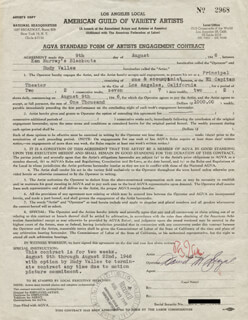 RUDY VALLEE - CONTRACT SIGNED 08/09/1946 CO-SIGNED BY: DAVID W. SIEGEL