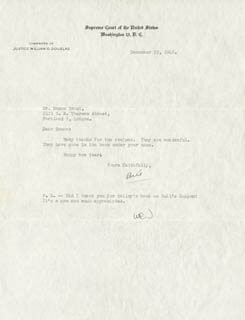 Autographs: ASSOCIATE JUSTICE WILLIAM O. DOUGLAS - TYPED LETTER TWICE SIGNED 12/29/1948
