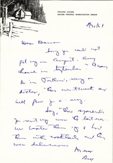 ASSOCIATE JUSTICE WILLIAM O. DOUGLAS - AUTOGRAPH LETTER SIGNED 08/30/1968