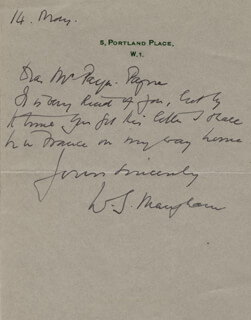 W. SOMERSET MAUGHAM - AUTOGRAPH LETTER SIGNED