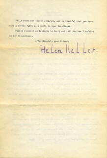 HELEN KELLER - TYPED LETTER SIGNED 06/10/1942