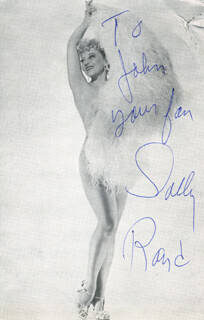 SALLY RAND - INSCRIBED PRINTED PHOTOGRAPH SIGNED IN INK