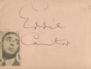 EDDIE CANTOR - AUTOGRAPH CO-SIGNED BY: JUNE PREISSER