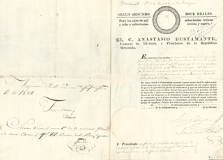 Autographs: PRESIDENT ANASTASIO BUSTAMANTE (MEXICO) - MILITARY APPOINTMENT SIGNED 03/12/1839