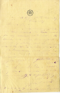 PRESIDENT JEFFERSON DAVIS (CONFEDERATE STATES OF AMERICA) - AUTOGRAPH LETTER SIGNED 03/02/1869