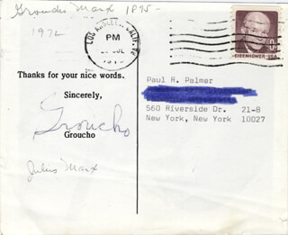 GROUCHO (JULIUS) MARX - PICTURE POST CARD SIGNED 7/1972