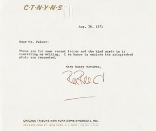 REX REED - TYPED LETTER SIGNED 08/26/1971