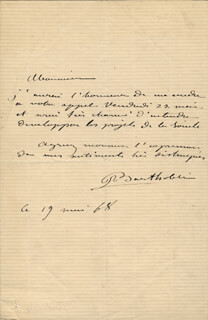 FREDERIC A. BARTHOLDI - AUTOGRAPH LETTER SIGNED 01/29/1902