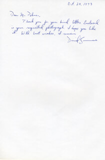DAVID SUMMERS - AUTOGRAPH NOTE SIGNED 10/24/1973