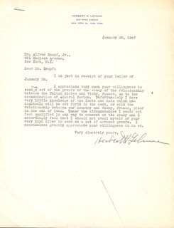 GOVERNOR HERBERT H. LEHMAN - TYPED LETTER SIGNED 01/30/1947