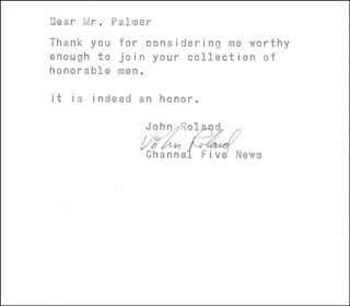 JOHN ROLAND - TYPED LETTER SIGNED