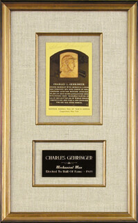 CHARLIE GEHRINGER - BASEBALL HALL OF FAME PLAQUE POSTCARD SIGNED