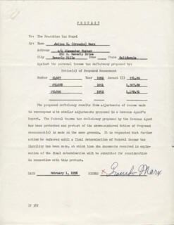 GROUCHO (JULIUS) MARX - DOCUMENT SIGNED 02/01/1956