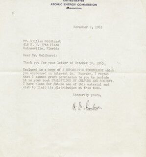ADMIRAL HYMAN G. RICKOVER - TYPED LETTER SIGNED 11/02/1965
