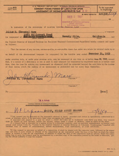 GROUCHO (JULIUS) MARX - DOCUMENT SIGNED 12/06/1957 CO-SIGNED BY: W. F. UPSON