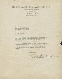 MAJOR EDWARD V. EDDIE RICKENBACKER - TYPED LETTER SIGNED 11/12/1934