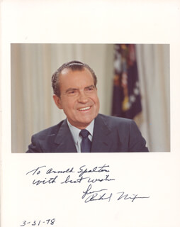PRESIDENT RICHARD M. NIXON - AUTOGRAPHED INSCRIBED PHOTOGRAPH 03/31/1978