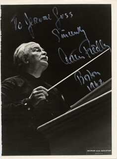ARTHUR MR. POPS FIEDLER - AUTOGRAPHED INSCRIBED PHOTOGRAPH 1962