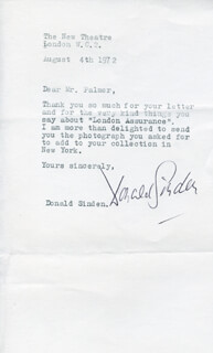 DONALD SINDEN - TYPED LETTER SIGNED 08/04/1972