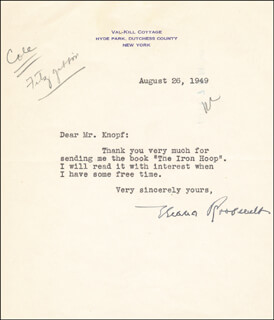 FIRST LADY ELEANOR ROOSEVELT - TYPED LETTER SIGNED 08/26/1949