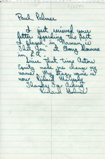 RICHARD (RICHARD HOLMES) MCCREADY - AUTOGRAPH LETTER SIGNED
