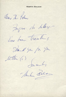 MARTIN BALSAM - AUTOGRAPH LETTER SIGNED