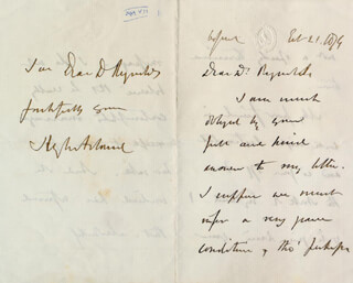 Autographs: SIR HENRY W. ACLAND - AUTOGRAPH LETTER SIGNED 02/21/1874