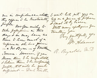 Autographs: WILLIAM ADAMS - AUTOGRAPH LETTER SIGNED 10/28/1868