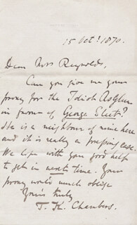 THOMAS KING CHAMBERS - AUTOGRAPH LETTER SIGNED 10/15/1870