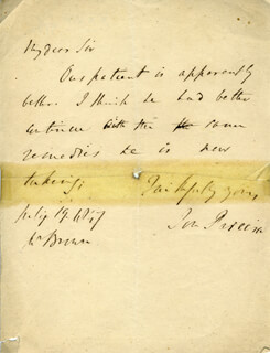 JONATHAN PEREIRA - AUTOGRAPH LETTER SIGNED 07/19/1847