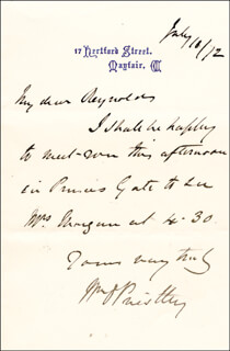 SIR WILLIAM O. PRIESTLEY - AUTOGRAPH LETTER SIGNED 07/10/1872