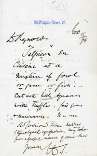 HENRY THOMPSON - AUTOGRAPH LETTER SIGNED 02/11/1874