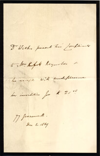 SIR SAMUEL WILKS - THIRD PERSON AUTOGRAPH LETTER 12/04/1869