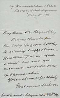 SIR WILLIAM JAMES ERASMUS WILSON - AUTOGRAPH LETTER SIGNED 02/05/1876