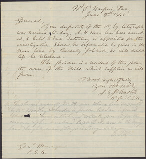 GENERAL JOSEPH E. JOHNSTON - AUTOGRAPH LETTER SIGNED 06/04/1861 CO-SIGNED BY: GENERAL PIERRE G.T. BEAUREGARD