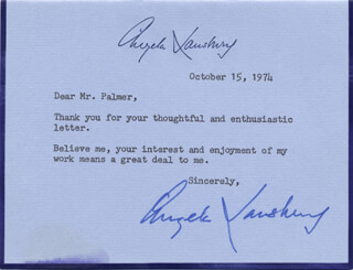 ANGELA LANSBURY - TYPED NOTE SIGNED 10/15/1974