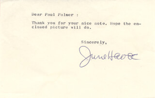 JUNE HAVOC - TYPED NOTE SIGNED