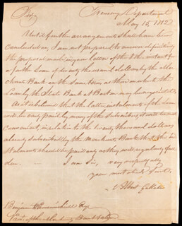 Autographs: ALBERT GALLATIN - AUTOGRAPH LETTER SIGNED 05/15/1812