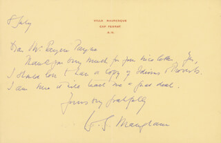 W. SOMERSET MAUGHAM - AUTOGRAPH LETTER SIGNED 7/8