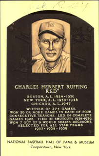 RED RUFFING - BASEBALL HALL OF FAME PLAQUE POSTCARD SIGNED