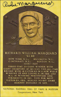 RUBE MARQUARD - BASEBALL HALL OF FAME PLAQUE POSTCARD SIGNED