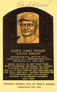 LLOYD LITTLE POISON WANER - BASEBALL HALL OF FAME PLAQUE POSTCARD SIGNED
