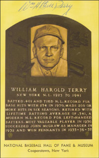 WILLIAM H. MEMPHIS BILL TERRY - BASEBALL HALL OF FAME PLAQUE POSTCARD SIGNED