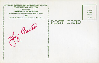 YOGI BERRA - BASEBALL HALL OF FAME PLAQUE POSTCARD SIGNED