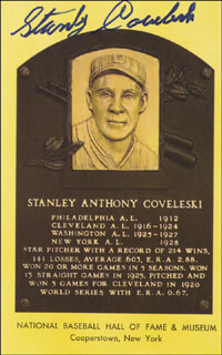 STAN COVELESKI - BASEBALL HALL OF FAME PLAQUE POSTCARD SIGNED