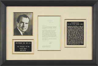 PRESIDENT RICHARD M. NIXON - TYPED LETTER SIGNED 05/19/1972