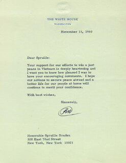 PRESIDENT RICHARD M. NIXON - TYPED LETTER SIGNED 11/15/1969