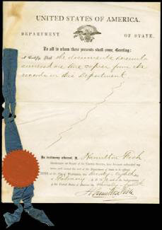 HAMILTON FISH - DOCUMENT SIGNED 02/28/1870