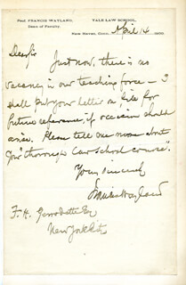 FRANCIS WAYLAND III - AUTOGRAPH LETTER SIGNED 04/14/1900